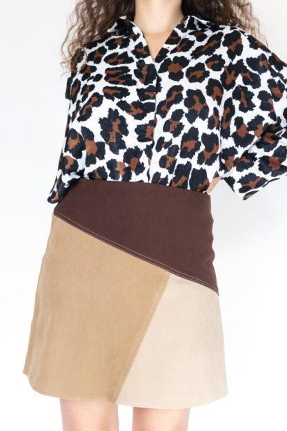 jupe courte à empiècement marron (2)