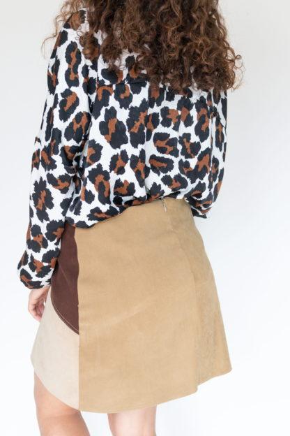 jupe courte à empiècement marron (4)