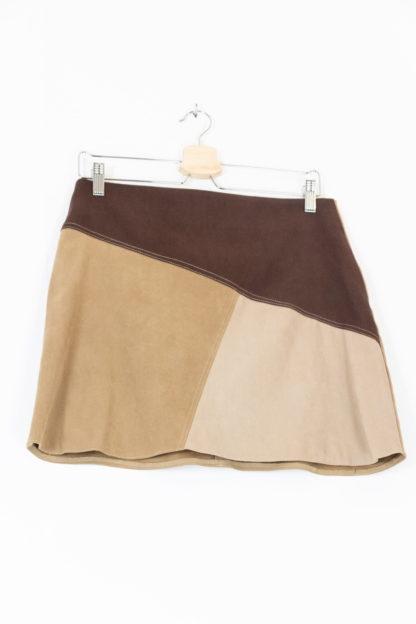jupe courte à empiècement marron (5)