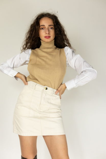 jupe en jean blanc cassé (2)