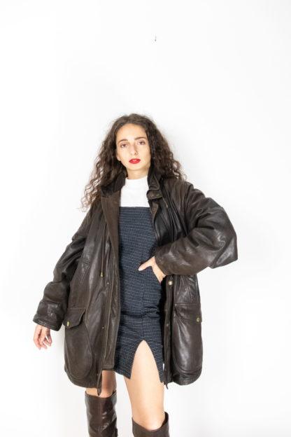 manteau en cuir marron foncé (1)