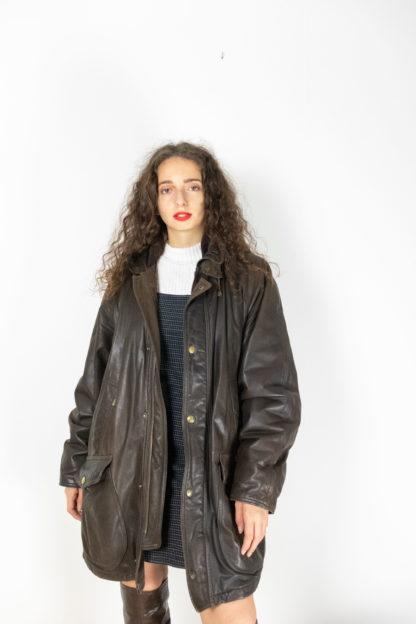 manteau en cuir marron foncé (2)