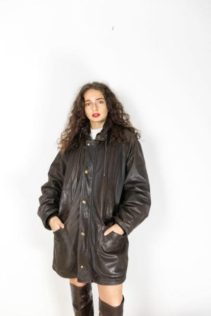 manteau en cuir marron foncé (3)