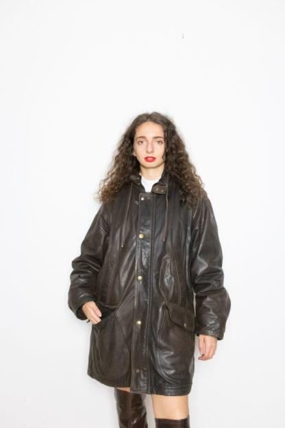 manteau en cuir marron foncé (4)