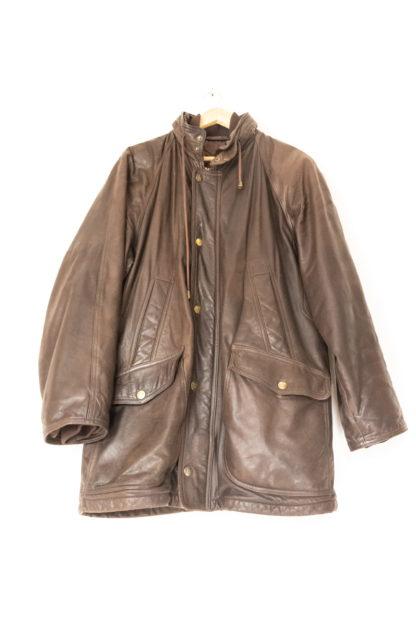 manteau en cuir marron foncé (5)