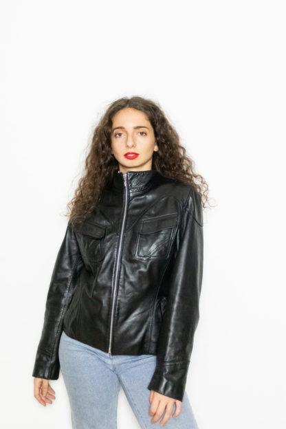 manteau en cuir noir court (3)