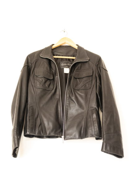 manteau en cuir noir court (5)
