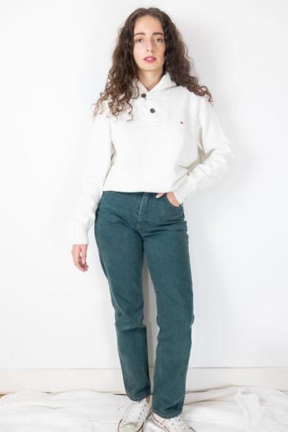 jean vert taille haute (1)