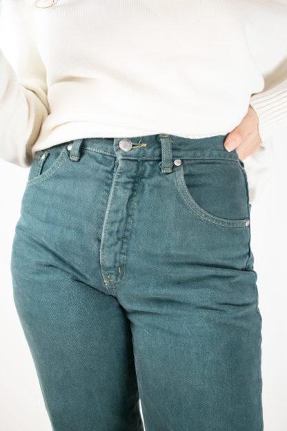 jean vert taille haute (3)