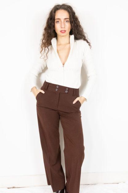 pantalon à pince marron (1)