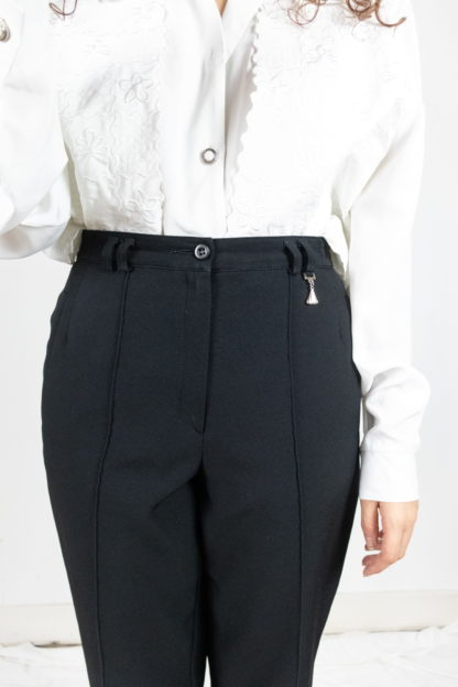 pantalon à pince noir court 3-4 (2)