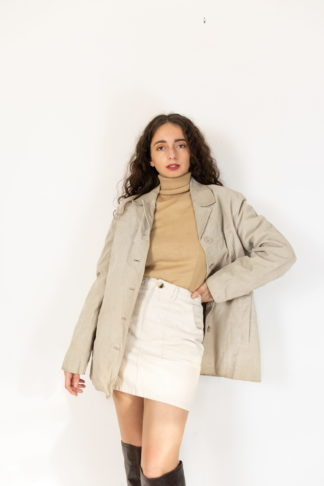 veste en cuir beige mi-longue (1)