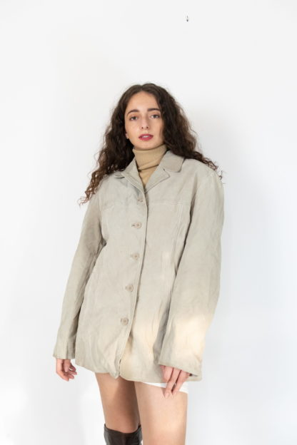 veste en cuir beige mi-longue (2)