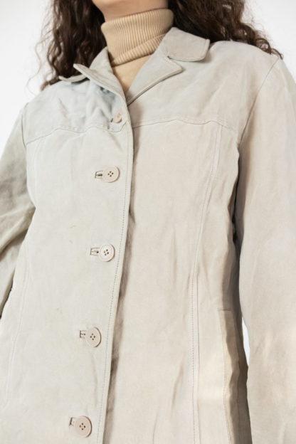 veste en cuir beige mi-longue (3)