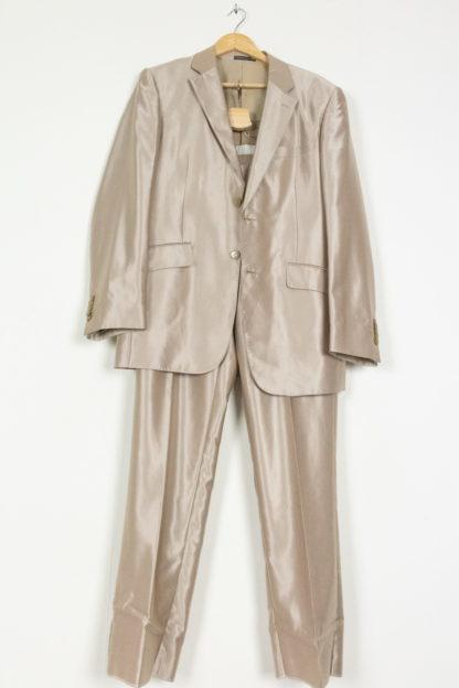 ensemble tailleur pantalon beige satiné (3)