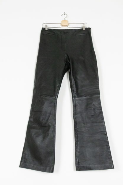 pantalon en cuir noir évasé (2)