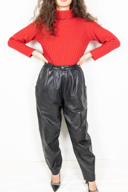 pantalon vintage en cuir noir (3)