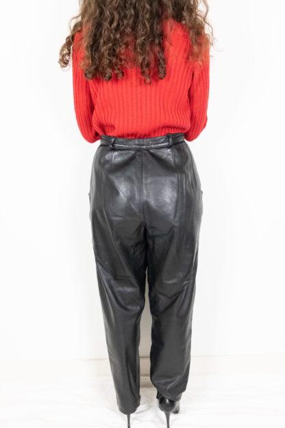 pantalon vintage en cuir noir (4)