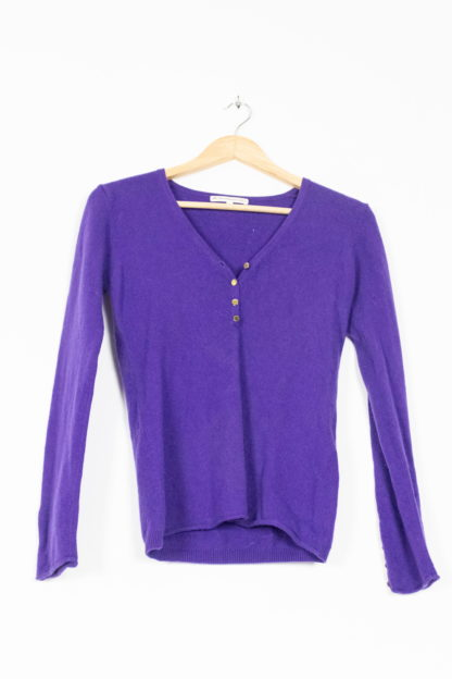 pull en cachemire violet col V (4)