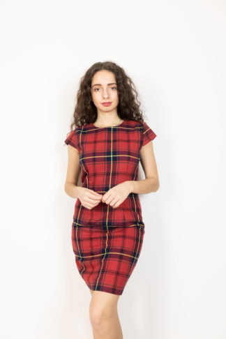 robe manches courtes tartan rouge (1)