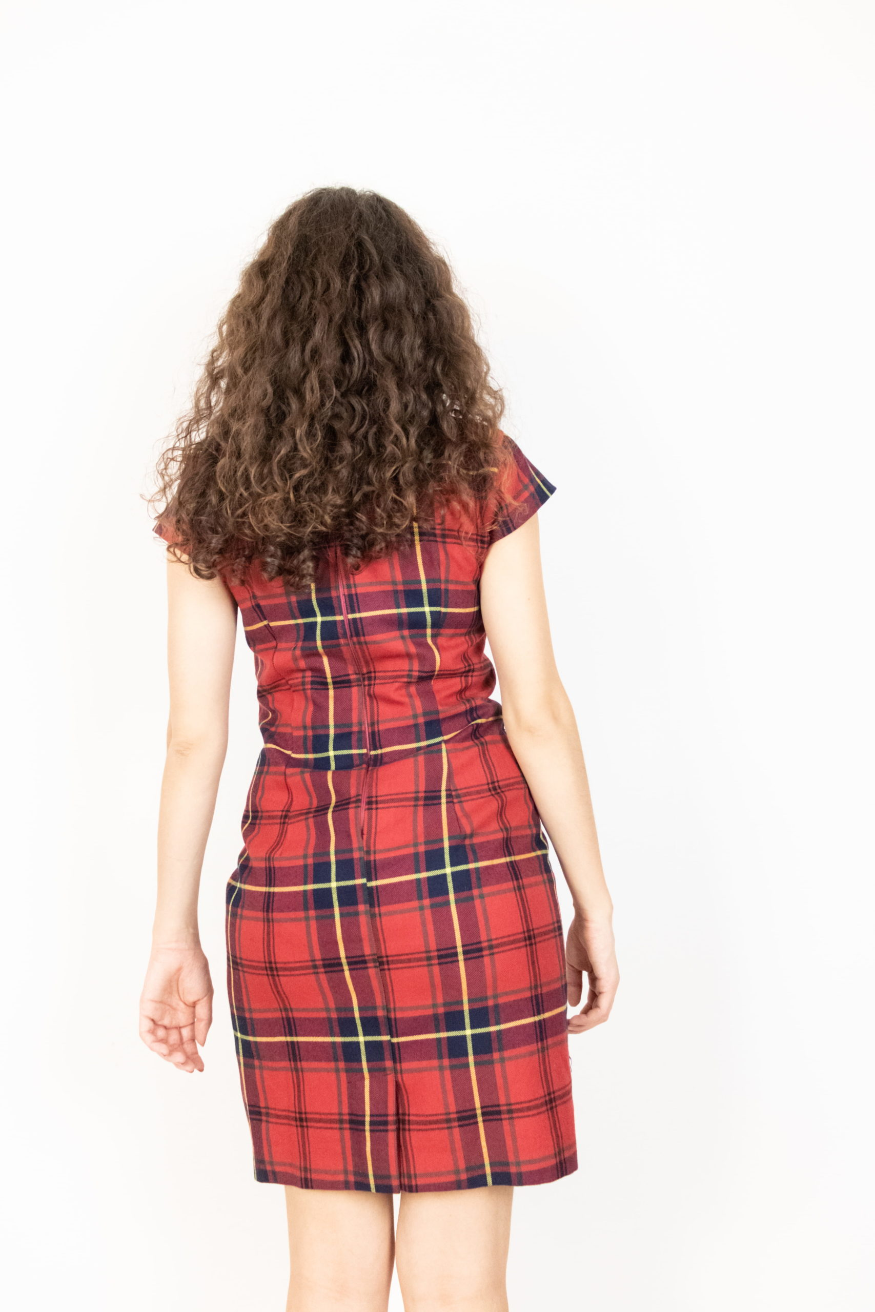 robe manches courtes tartan rouge (2)
