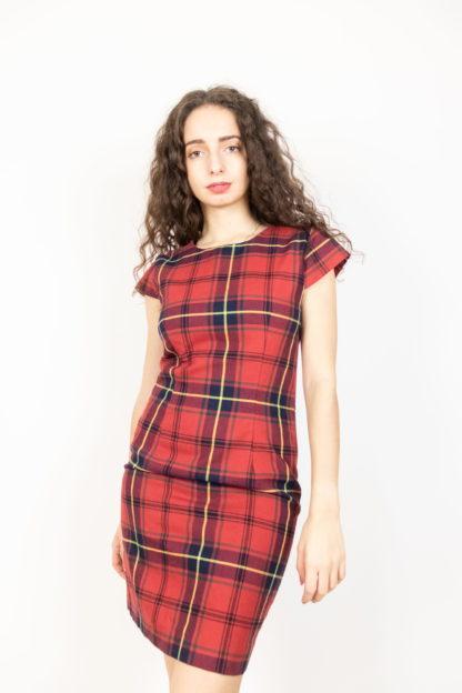 robe manches courtes tartan rouge (3)