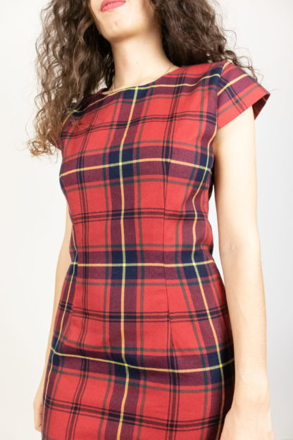 robe manches courtes tartan rouge (4)