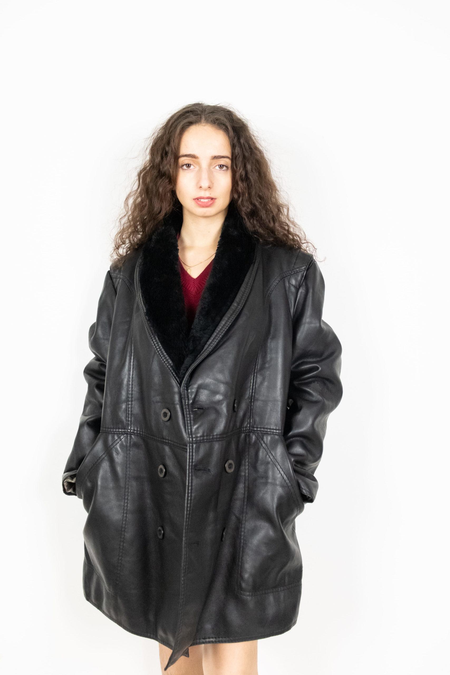 veste en cuir noir col fausse fourrure (1)