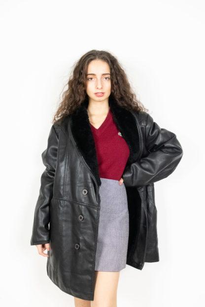 veste en cuir noir col fausse fourrure (2)