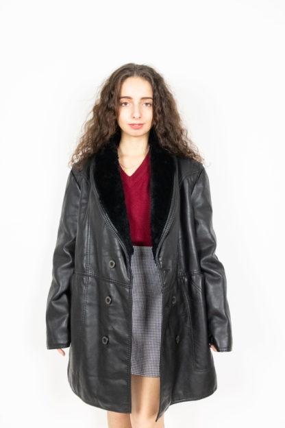 veste en cuir noir col fausse fourrure (3)