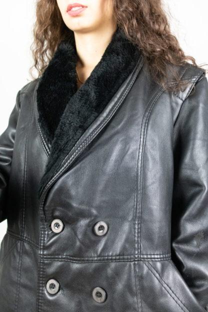 veste en cuir noir col fausse fourrure (5)