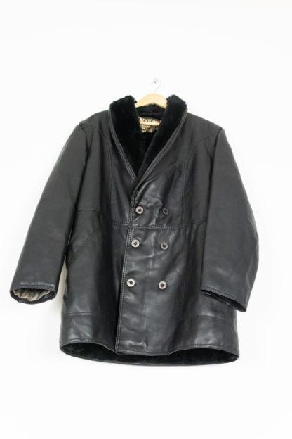 veste en cuir noir col fausse fourrure (6)