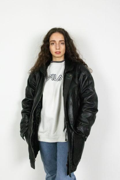 veste en cuir noir fermeture éclair davilux (1)