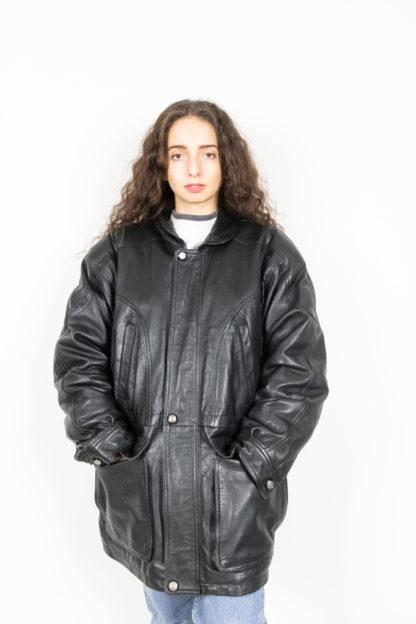 veste en cuir noir fermeture éclair davilux (3)