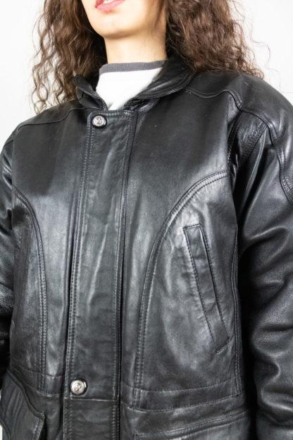 veste en cuir noir fermeture éclair davilux (4)