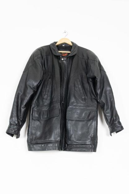 veste en cuir noir fermeture éclair davilux (5)
