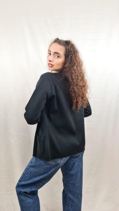cardigan noir boutons argentés (2)