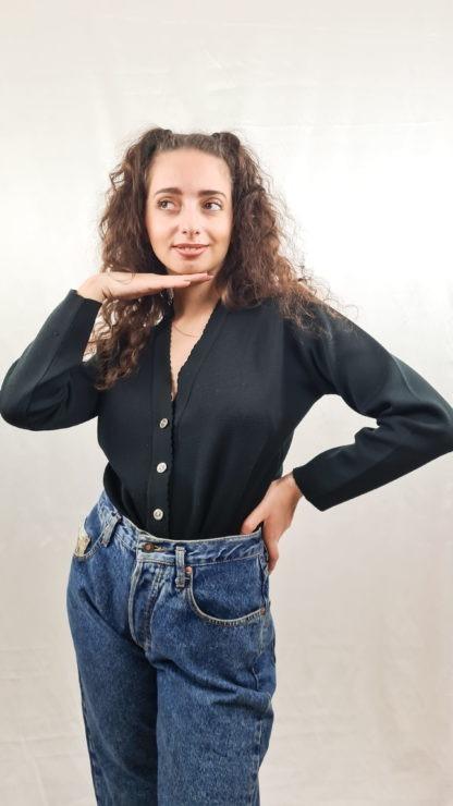 cardigan noir boutons argentés (4)