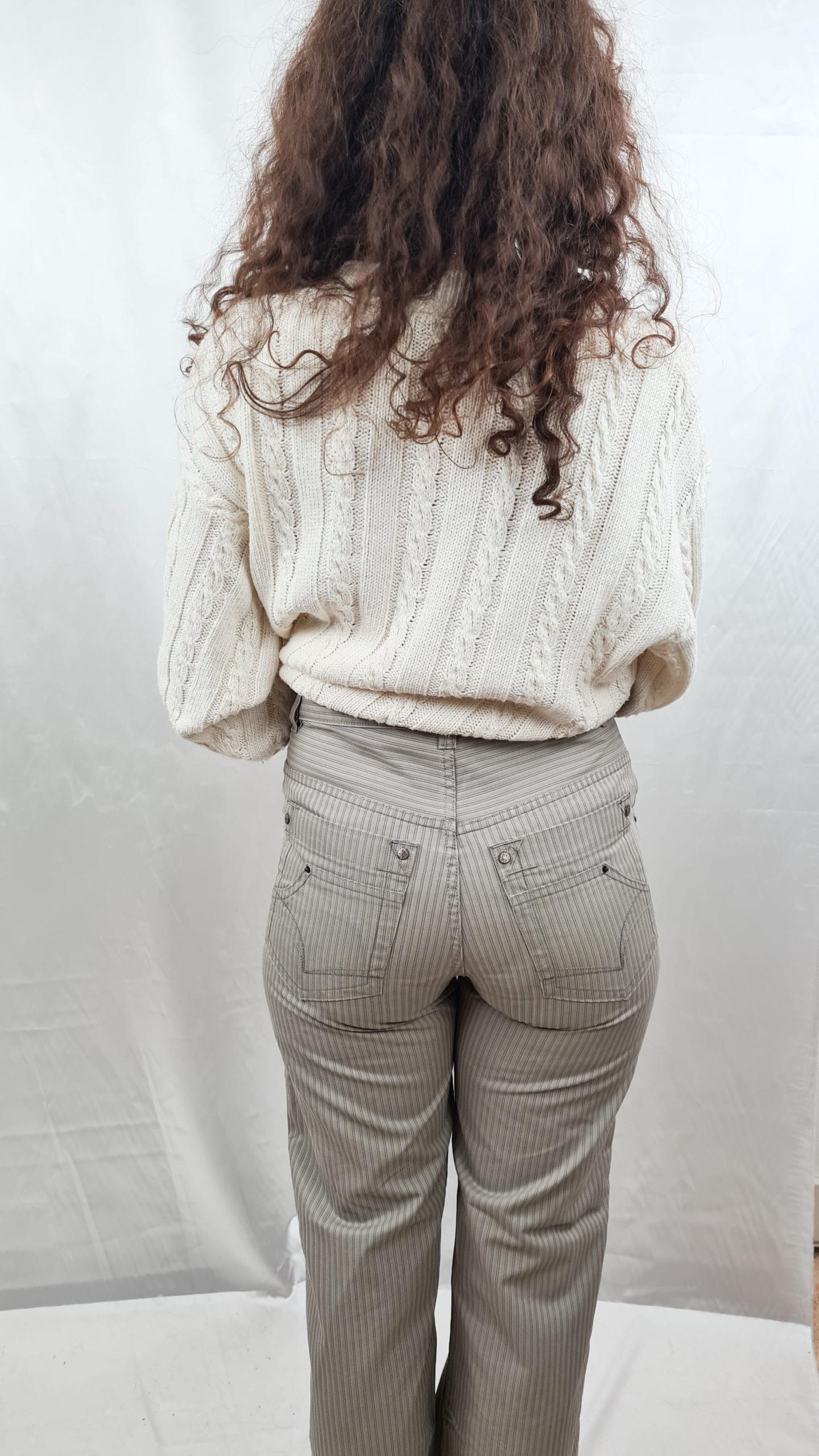 pantalon beige rayé droit (3)