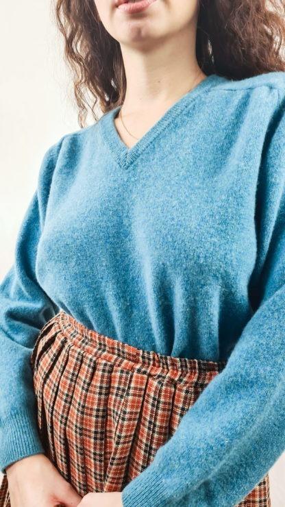 pull en laine bleu canard (5)