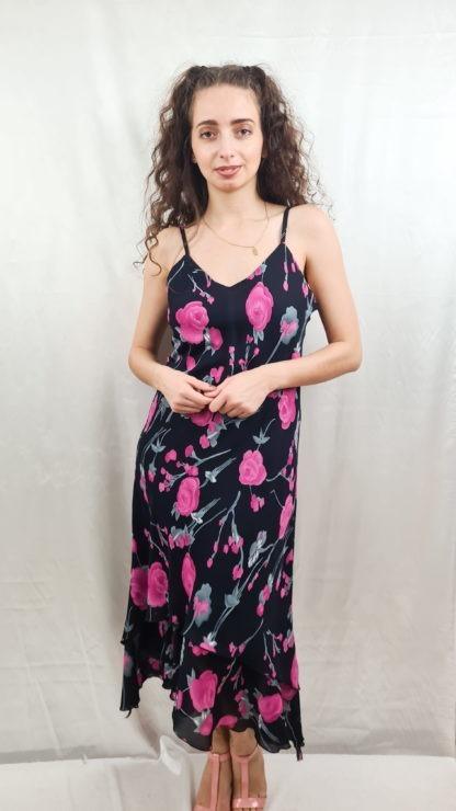 robe fluide noir à motif fleuri (2)