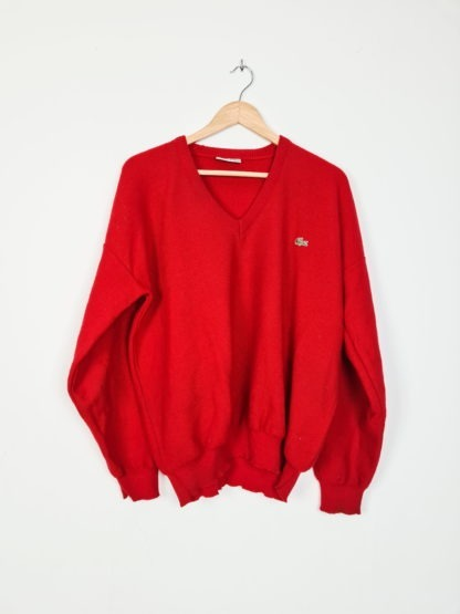 sweat rouge Lacoste col V (4)