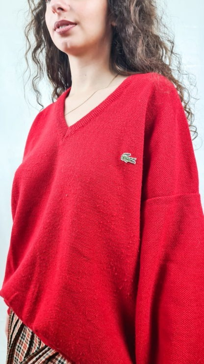 sweat rouge Lacoste col V (5)