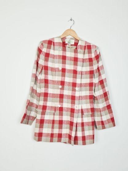 taileur jupe à carreaux rouge blanc gris