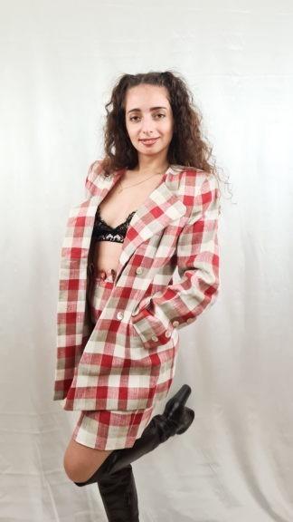 tailleur jupe à carreaux rouge blanc gris (3)