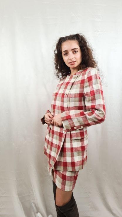 tailleur jupe à carreaux rouge blanc gris (4)