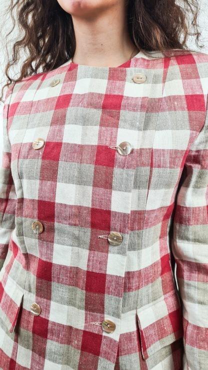 tailleur jupe à carreaux rouge blanc gris (5)