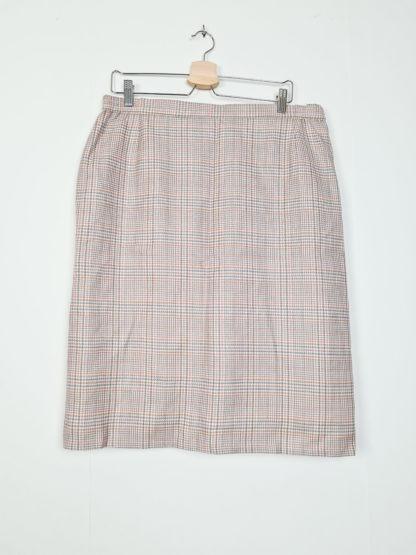 tailleur jupe beige à carreaux roses (3)