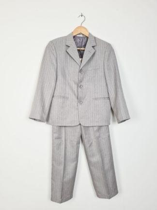 tailleur pantalon gris à rayures noires (1)
