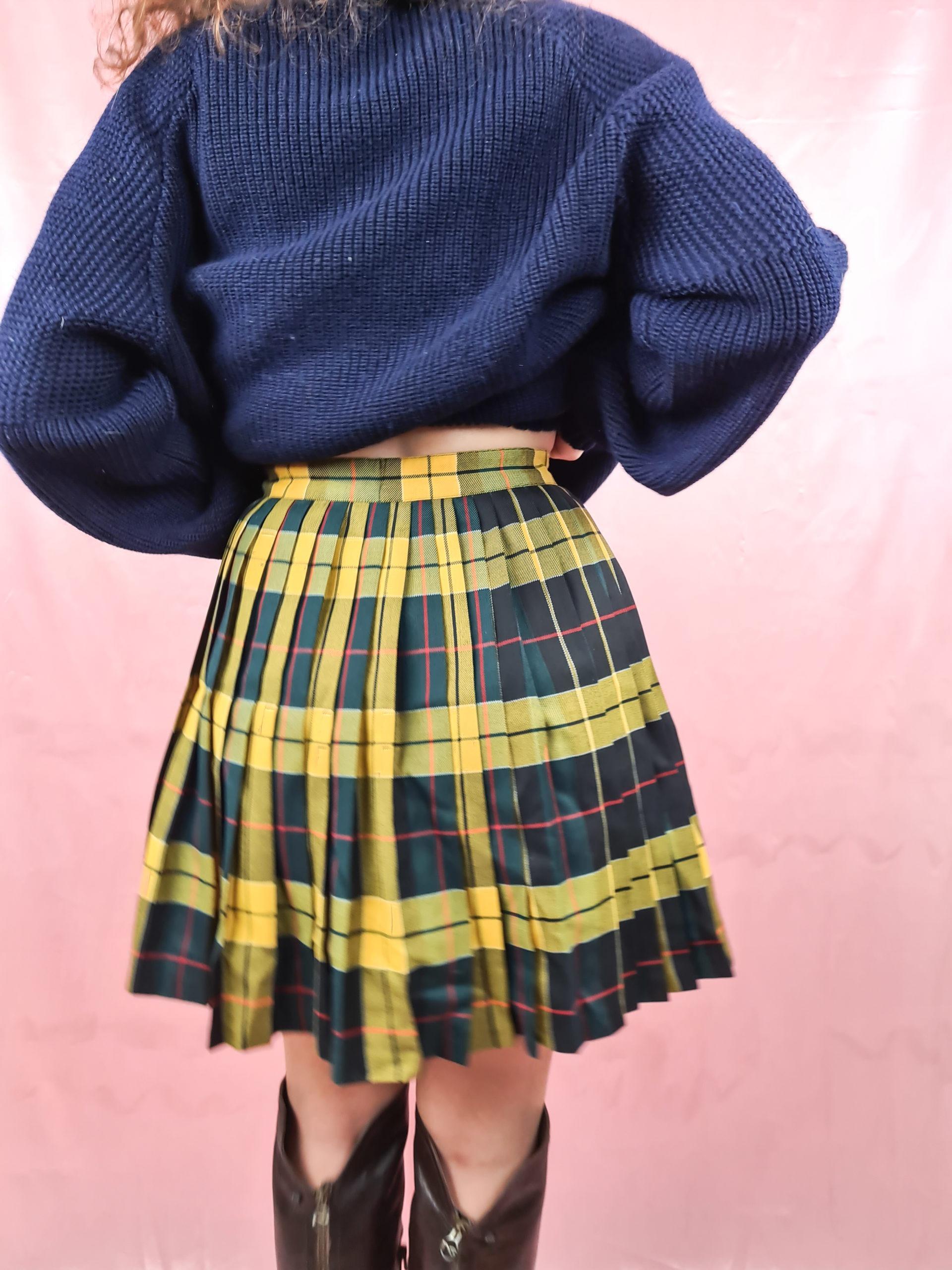 jupe plissée à carreaux jaune vert (4)